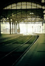 Morning rail station Royalty Free Stock Photo