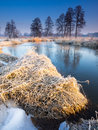 Morning river winter and sunrise in poland Stock Photo