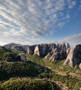 Morning on rocks of Meteora, Greece Royalty Free Stock Photos