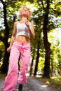 Morning run motion blur picture of woman running in the park with effect Royalty Free Stock Photography