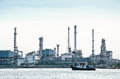 Morning scene of oil refinery factory Stock Photo