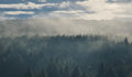 Morning sky panorama with forest mountains in clouds Royalty Free Stock Photo
