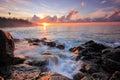 Morning splash beautiful with wave Stock Photos