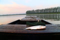 Morning stillness fish on the boat at dawn Stock Photo