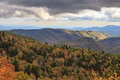 Morning sun on blue ridge mountains north carolina lights up the in in autumn Stock Image