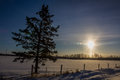 Morning sun shining on a snow covered field Royalty Free Stock Images