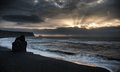 Morning Sunrise in Iceland Black Sand Beach With Ocean Water Waves and Stormy Clouds. Vik Vikurbraut Royalty Free Stock Photo