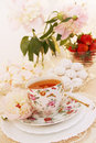 Morning tea with dessert spring still life Stock Photos