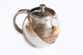 Morning tea pot golden in stainless teapot Royalty Free Stock Photography
