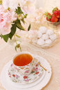 Morning tea spring still life with dessert Royalty Free Stock Image