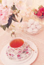 Morning tea tinted spring still life with dessert Royalty Free Stock Photos