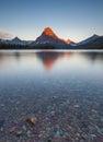 Morning at two medicine lake, glacier national park, MT Royalty Free Stock Photo