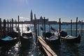 Morning in Venice, gondolas, Grand Canal and San Giorgio Maggiore church Royalty Free Stock Photo
