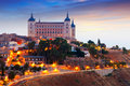 Morning view of alcazar of toledo spain Stock Photo
