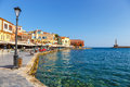 Old port of Chania on Crete, Greece. Chania is the second largest city of Crete.