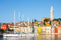 Morning view on sailboat harbor in Rovinj with many moored sail boats and yachts, Croatia Royalty Free Stock Photo