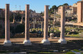 Morning view to Roman Forum. Ancient ruins and columns. Rome, Italy Royalty Free Stock Photo