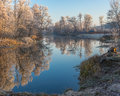 Beautiful morning on a Vorskla river at late autumnal season