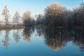 Morning on a Vorskla river at late autumn, Sumskaya oblast, Ukraine