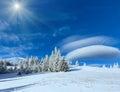 Morning winter mountain sunshiny landscape Royalty Free Stock Photo