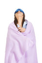 Morning woman wrapped in coverlet. Royalty Free Stock Photo
