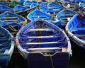 Moroccan blue fishing boats Royalty Free Stock Photos