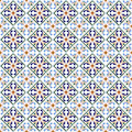 Moroccan blue tiles print or spanish ceramic surface vector pattern texture
