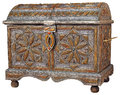 Moroccan chest traditional handmade isolated on white background Stock Photo