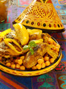 Moroccan chicken with chickpeas and lemons Royalty Free Stock Photo