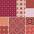 Moroccan collection seamless pattern, Morocco. Patchwork mosaic traditional folk geometric ornament red pink brown claret. Tribal