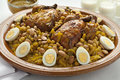 Moroccan couscous with chicken and caramelized Onions Stock Images