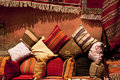Moroccan cushions in a street shop in medina souk Stock Photography
