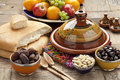 Moroccan food on the table ready to eat Stock Images
