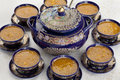 Moroccan harira soup traditional in tureen and bowls Stock Image