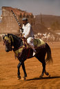 Moroccan horseman with gun Stock Image