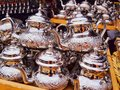 Moroccan kettle in rabat typical on the market inside the old medina morocco africa Royalty Free Stock Photography
