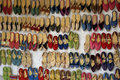 Moroccan market of shoes exposition in a in marrakech Stock Photography