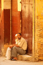 Moroccan men in the medina Royalty Free Stock Photos