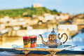 Moroccan mint tea with sweets Royalty Free Stock Photo