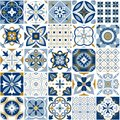 Moroccan pattern. Decor tile texture with blue ornament. Traditional arabic and indian pottery tiling seamless patterns Royalty Free Stock Photo