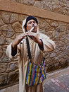 Moroccan street flutist marrakesh wearing traditional jellaba Stock Images