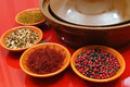 Moroccan tahine with four bowls with spices Royalty Free Stock Photo
