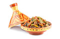 Moroccan tajine national dish with meat and vegetables on a white background Stock Image
