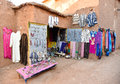 Moroccan textiles and souvenirs traditional for sale on the street Stock Photos