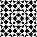 Moroccan tiles design, geometric seamless black tile pattern