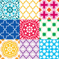 Moroccan tiles design, seamless geometric pattern collections in blue, green, red, orange, navy blue Royalty Free Stock Photo