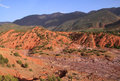 Morocco Atlas mountains and dry river bed Stock Photo