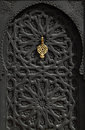 Morocco Marrakesh typical old black arabesque door Royalty Free Stock Photo