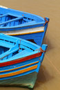 Morocco rabat fishing boats typical blue wooden berthed in the ancient river port Royalty Free Stock Images
