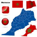 Morocco set detailed country shape with region borders flags and icons isolated on white background Royalty Free Stock Images